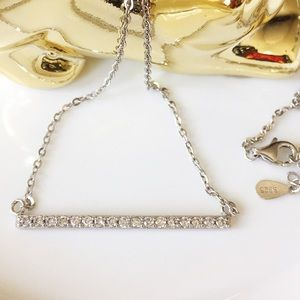 Sterling silver simulated diamond bar necklace